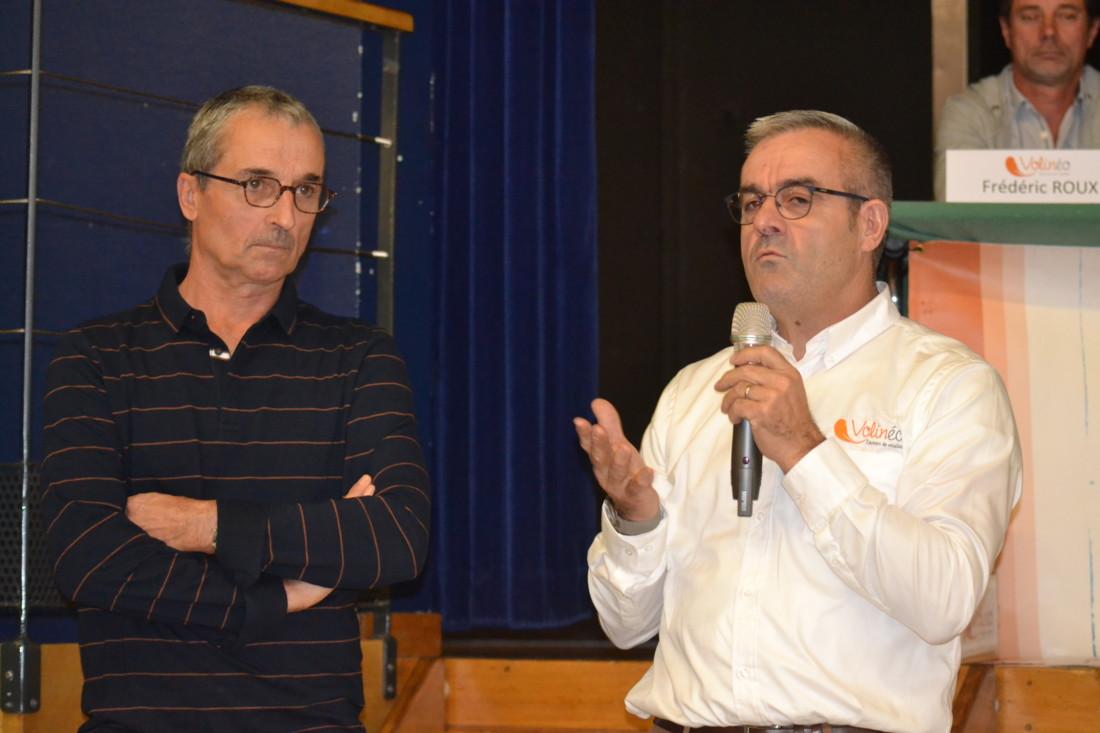 L'activité volailles de chair est désormais divisé en deux comités indépendants dans leur fonctionnement : Volinéo pour la partie volailles conventionnelles, présidé par Guy-Marie Brochard (à droite) et les Éleveurs de Challans pour les productions sous SIQO, présidé par Dominique Morvan (à gauche)
